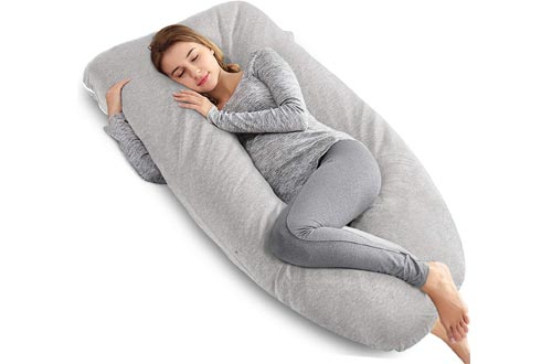 AngQi Full Body Pregnancy Pillows - U Shaped Body Pillows for Pregnant Women - with Jersey Maternity Pillows Cover