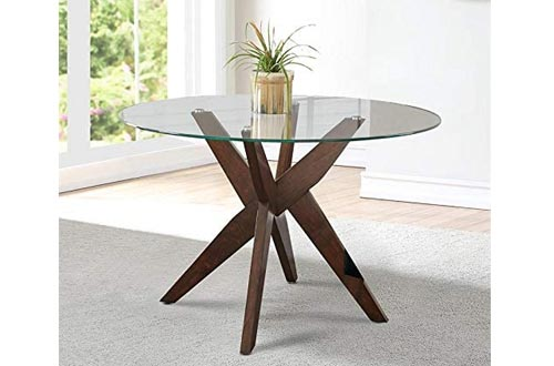 """Steve Silver Amalie 48"""" Round Glass Top Dining Tables"""