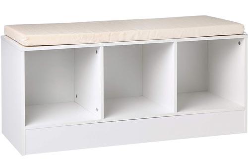 AmazonBasics 3-Cube Entryway Shoe Storage Benchs with Cushioned Seat, White