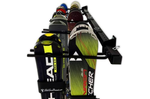 StoreYourBoard Ski and Snowboard Wall Storage Racks, Holds 10 Pairs, Ski Wall Mount, Home and Garage Storage Hanger