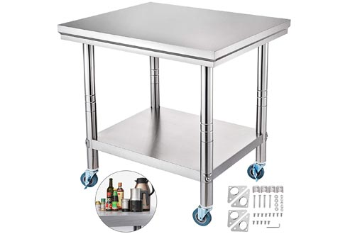 Mophorn Stainless Steel Work Tables 36x24 Inch with 4 Wheels Commercial Food Prep Worktable with Casters