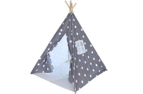 Kids Teepee Tents for Kids, No Toxic Chemicals Added, Carrying Case, Polka Dot Play Tents Indoor for Boys & Girls, Large Tipi for Toddler Dog Baby Boy Adult Children Adults Dogs Childs Reading Nook