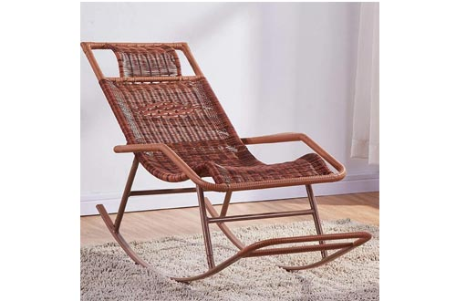 ZZFF Patio Rocking Chairs, Relaxing Lounge Chair,Metal Recliner Wicker Chairs,Handmade Leisure Chair,Portable Bench Chairs for Indoor Outdoor T 46x122x80cm(18x48x31inch)