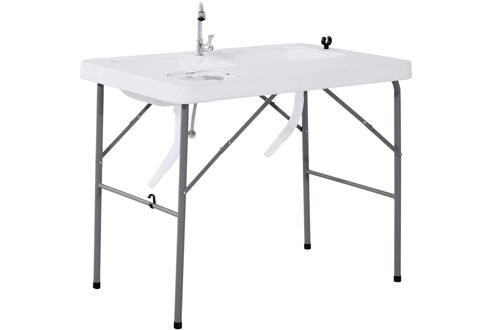 Outsunny Portable Folding Camping Sinks Table with Faucet and Dual Water Basins, Outdoor Fish Table Sinks, 40'