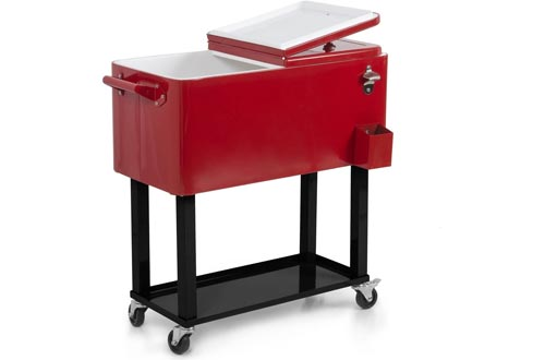 BELLEZE Rolling Ice Chest Portable Patio Drink Party Cooler Carts, 80-Quart, Red
