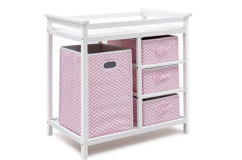 HONEY JOY Baby Changing Tables, Diaper Storage Nursery Station with Hamper and 3 Baskets (White+Pink)
