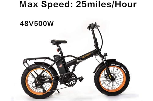 """SOHOO 48V500W12AH 20"""" x4.0 Folding Fat Tire Electric Bicycle Mountain E-Bikes Removable Battery Foldable Snow Electric Bikes"""