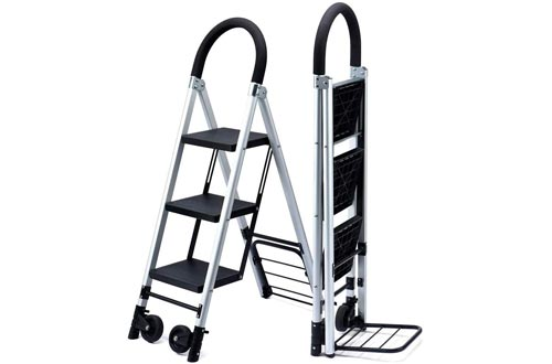 Delxo Folding 3 Step Ladders with Rolling Wheels - 2 in 1 Convertible, 3-Feet Portable Lightweight Aluminum Step Stool with Soft Handgrip & Anti-Slip Wide Pedals, Foldable Metal Hand Truck Dolly Cart