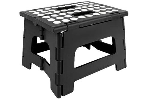 StepSafe Non Slip Folding Step Stools For Kids and Adults with Handle- 9 in Height, Holds up to 300 Lb!