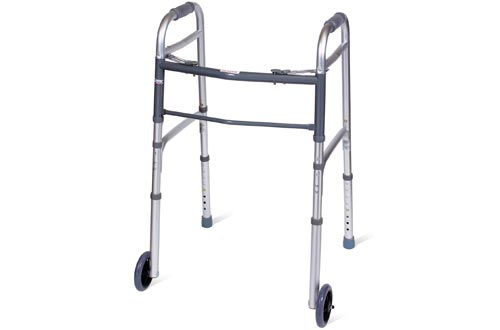 Carex Folding Walkers for Seniors - Adult Walkers With Wheels - Portable Medical Walkers with Adjustable Height, 30-37 Inches