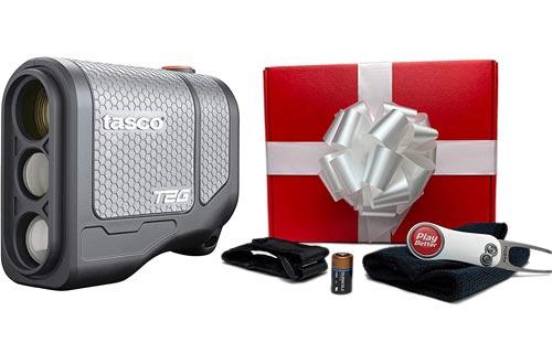 Tasco T2G (Standard Version) Golf Laser Rangefinders | PlayBetter Premium Gift Box | 2020 Release, 5X Mag, Scan Mode, (+PlayBetter Gift Box w/Cart Mount, Pitchfix, Microfiber Towel)
