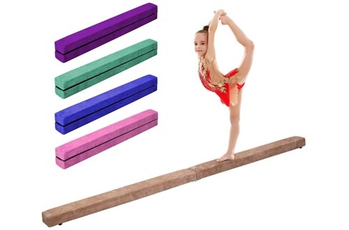 Giantex 7 Ft Balance Beam, Folding Gymnastics Beam w/Non Slip Rubber Base for Kids, Floor Gymnastics Beams for Training, Practice and Professional Home Exercise