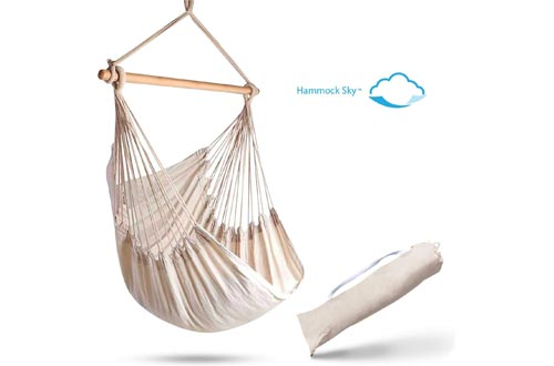 Hammock Sky Large Brazilian Hammock Chairs Cotton Weave - Extra Long Bed - Hanging Chairs for Yard, Bedroom, Porch, Indoor/Outdoor