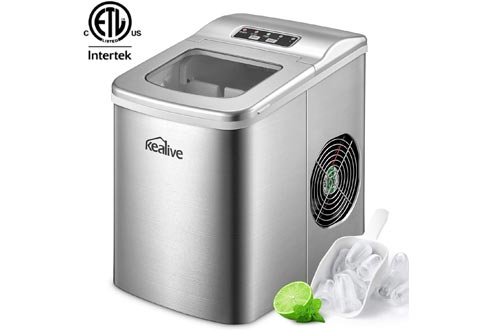 Portable Ice Makers Machine Kealive Stainless Steel Ice Makers 2L for Countertop, Make 26 lbs Ice in 24hrs with LED Display, Ice Cubes Ready in 6 Mins with Ice Scoop and Basket, ETL Listed