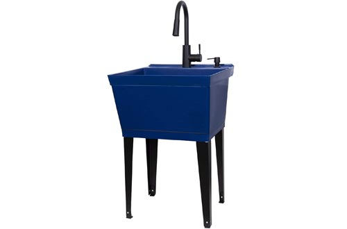 Blue Utility Sinks Laundry Tub With High Arc Black Kitchen Faucet By VETTA - Pull Down Sprayer Spout, Heavy Duty Slop Sinks For Washing Room, Basement, Garage, or Shop, Free Standing Tubs