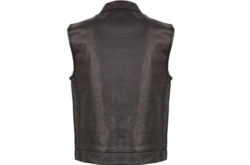 EVENT LEATHER Men's Leather Motorcycle Vests Zipper & Snap Closure w/2 Inside Gun Pockets & Single Panel Back