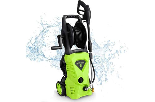 WHOLESUN 3000PSI Electric Pressure Washer 1.8GPM 1600W Power Washers with Hose Reel and Brush Green