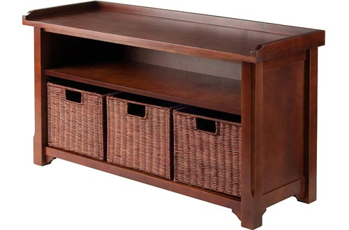 Winsome Wood MilanWood Storage Benchs in Antique Walnut Finish with Storage Shelf and 3 Rattan Baskets in Antique Walnut Finish