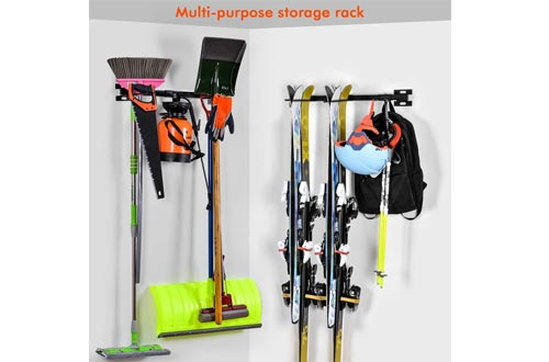 Ski Snowboard Wall Storage Racks | Holds 10 Pairs | Ski Wall Mount Home & Garage Storage Hanger Garage Storage Mount System,Black