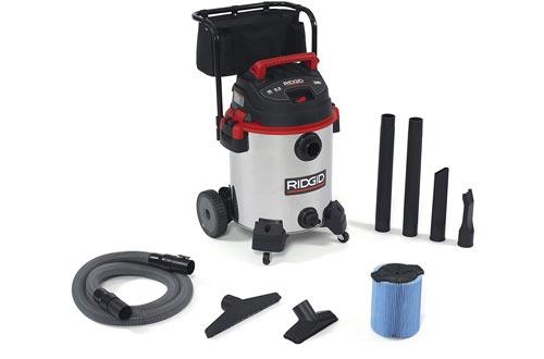 RIDGID 50353 1610RV Stainless Steel Wet Dry Vacuums, 16-Gallon Shop Vacuums with Cart, 6.5 Peak HP Motor, Large Wheels, Pro Hose, Drain, Blower Port