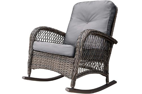 Corvus Salerno Outdoor Wicker Rocking Chairs with Cushions Grey
