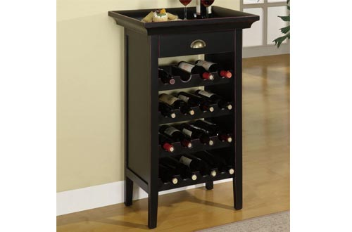 Powell Black with Merlot Rub through Wine Cabinets