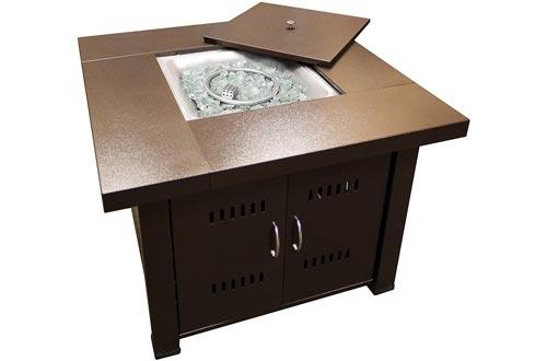 AZ Patio Heaters GS-F-PC Propane Fire Pits, 40,000 BTU, Square, Antique Bronze Finish
