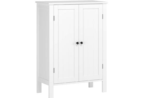 HOMFA Bathroom Floor Cabinets, Free Standing Side Cabinets Storage Organizer with Double Doors and Adjustable Shelf for Home Office, White