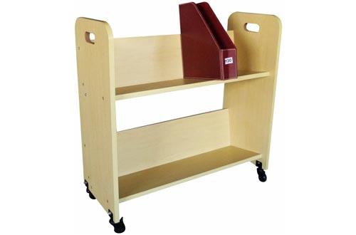 FixtureDisplays Wood Book Cart Library Cart Pew Carts 10969