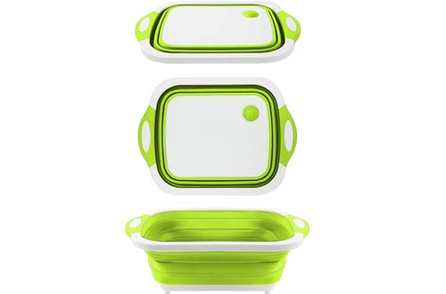 QiMH Collapsible Cutting Board - Portable Washing Veggies Fruits Food Grade Camping Sinks (4.25 Gal) with Draining Plug - Foldable Multi-function Kitchen Plastic Silicone Basin