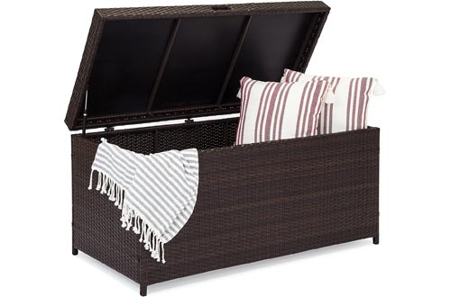 Best Choice Products Outdoor Wicker Patio Furniture Deck Storage Boxs w/Safety Pneumatic Hinges and Deep Bed for Cushions, Pillows, and Pool Accessories, Brown