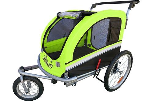 Booyah Large Pet Bike Trailer Dog Strollers & Jogger with Shocks MB - Green