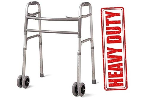 "Heavy Duty Bariatric Extra Wide Folding Walkers with 5"" Wheels"
