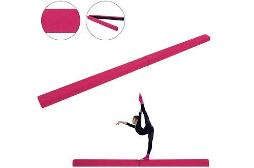 Popsport Gymnastics Balance Beam 7FT 8FT Safe Secure and Firm Long Balance Beams Suede Material Folding Floor Gymnastics Equipment