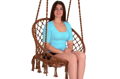 EBUNG Macramé Hammock Chairs Hanging Swing Seat – Elegant and Classy Knotted Design – 100% Cotton – Durable and Strong – Ideal
