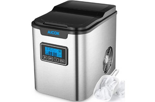Aicok 26lb Portable Ice Makers Machine for Countertop, Stainless Steel, Ice Cubes ready in 6 Minutes, 26lb Ice per 24 Hrs, Self-clean Function, LCD Display, Ice Scoop&Basket, Perfect for Cocktail Party