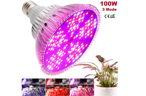 MILYN 100W Led Grow Light Bulbs, Full Spectrum Grow Lights for Indoor Plants Vegetables, E26 Plant Light Bulbs with 3 Modes for Hydroponics Indoor Garden Greenhouse Seedlings, Flowering, Fruiting