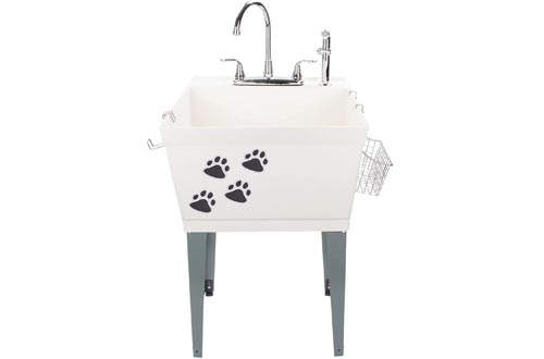 Laundry Sinks Utility Tub With High Arc Chrome Faucet With Pet Friendly Accessories, Side Sprayer, Hooks, Baskets, Heavy Duty Sinks With Reinforced Wall Bracket, Suitable