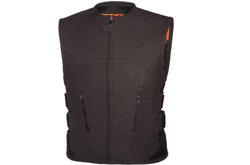 True Element Mens Swat Team Style Leather Motorcycle Vests with Side Size Adjustment