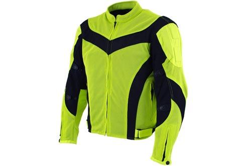 Xelement CF-6019-66 'Invasion' Men's Neon Green Mesh Armored Motorcycle Jackets - Medium