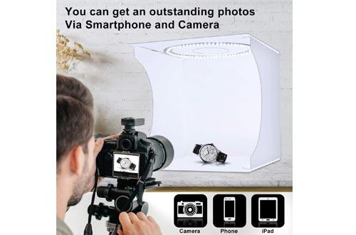 "SLOW DOLPHIN 12.9"" x 12.2"" Photo Studios Light Box Ring Light 80pcs LED Lights Adjustable Portable Folding Photography Shooting Light Tent Kit with White/Warm/Soft Lighting +6 Backdrops"
