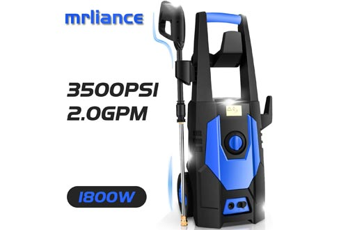 mrliance 3500PSI Electric Pressure Washer, 2.0GPM Electric Power Washer High Pressure Washers with Spray Gun, Brush, and 4 Quick-Connect Spray Tip
