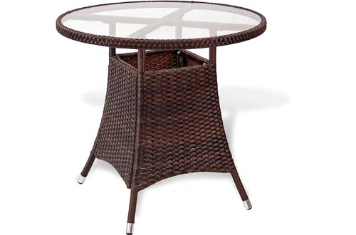 Patio Resin Outdoor Wicker Round 31.5 Inches Dining Tables w/Glass Top. Dark Brown