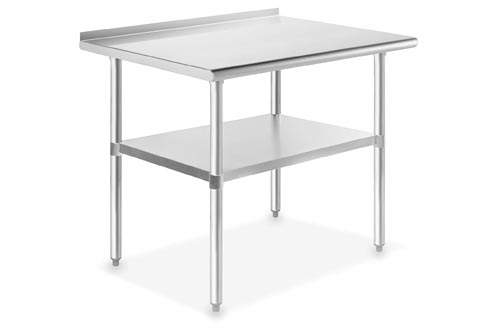 GRIDMANN NSF Stainless Steel Commercial Kitchen Prep & Work Tables w/ Backsplash - 36 in. x 24 in.