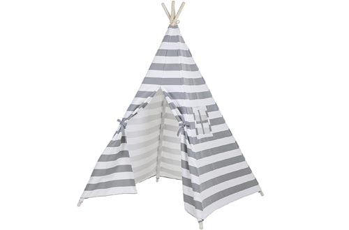 Toysland Indoor Indian Playhouse Teepee Tents for Kids, Toddlers Canvas with Carry Case, Grey Stripe