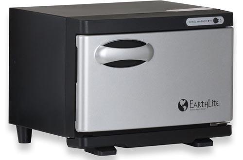 EARTHLITE Hot Towel Warmer Cabinets Mini – UV Sanitizing, UL Listed, Rust Proof Interior, Aluminum Door, Extra Hot, 1 Year Warranty (8L)