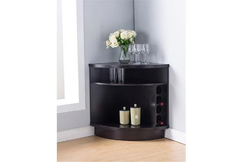 Smart Home 161722 Corner Wine Cabinets, Red Cocoa Color, Buffet Table Sideboard
