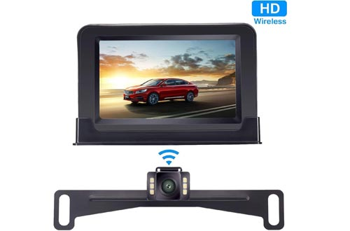 Yakry Backup Cameras Wireless 4.3'' Monitor Kit for Car/SUV/Minivan/Pickup Waterproof License Plate Rear View /Front View Cameras 6 White Light LED Night Vision Guide Lines ON/OFF