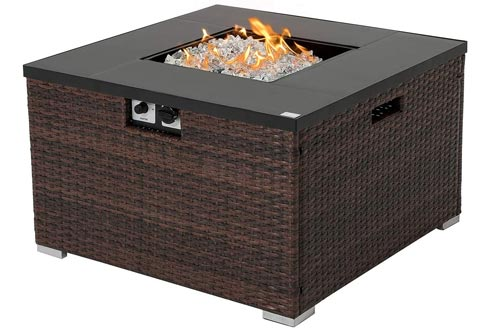 COSIEST Outdoor Propane Fire Pits 32-inch Square Espresso Brown Wicker Fire Table, 40,000 BTU Stainless Steel Burner,Fits 20 gal Tank Outside Ceramic Top,Free Lava Rocks and Cover