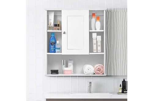 kealive Bathroom Wall Cabinets, 7'' Deep Wall Mounted Bathroom Storage Cabinets with Doors and Adjustable Shelf, Wooden Hanging Cabinets for Storage,White, 23.2 x 7.9 x 24.8 inches